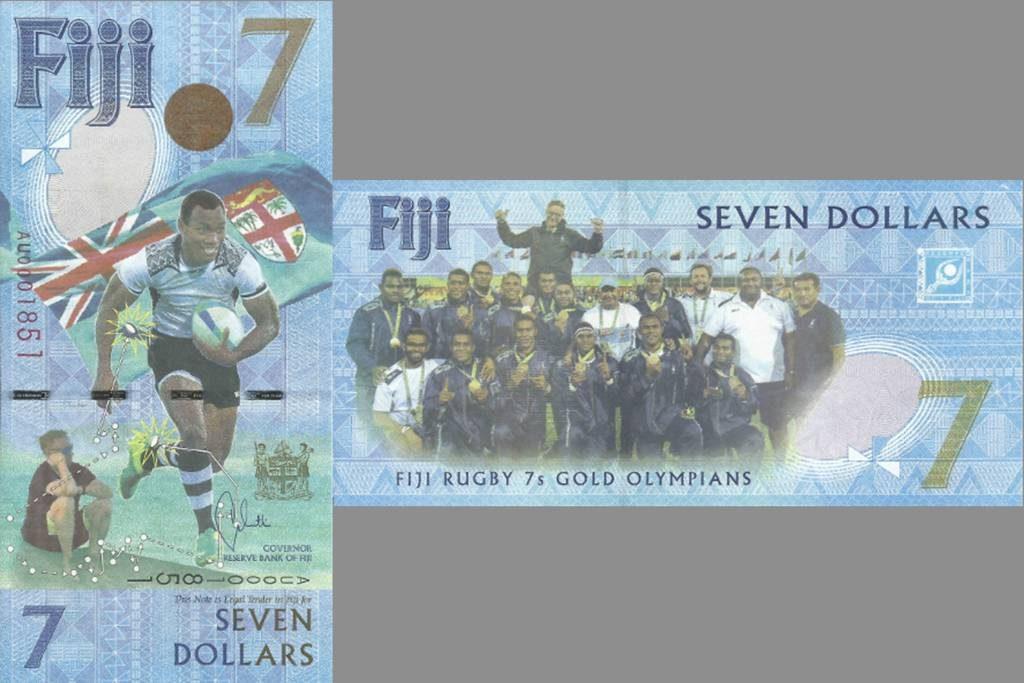 A nota de 7 dólares de Fiji traz o seu time de rugby que levou o ouro na Rio 2016 – a primeira medalha olímpica da história do país.