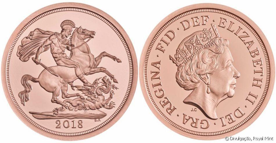 As moedas de ouro 22 quilates, também no valor de £5, são um pouco mais raras. Foram produzidas apenas 750 exemplares.