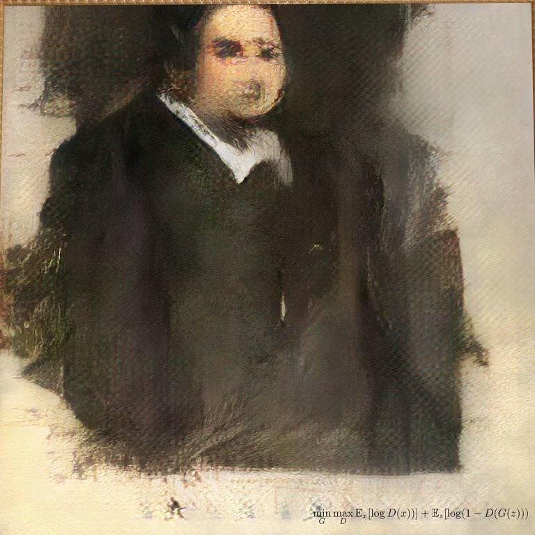 """A tela, chamada """"Portrait of Edmond Belamy"""", que está exposta em Nova York, foi a primeira da coleção """"La Famille Belamy"""", todas com telas feitas por algoritmos."""