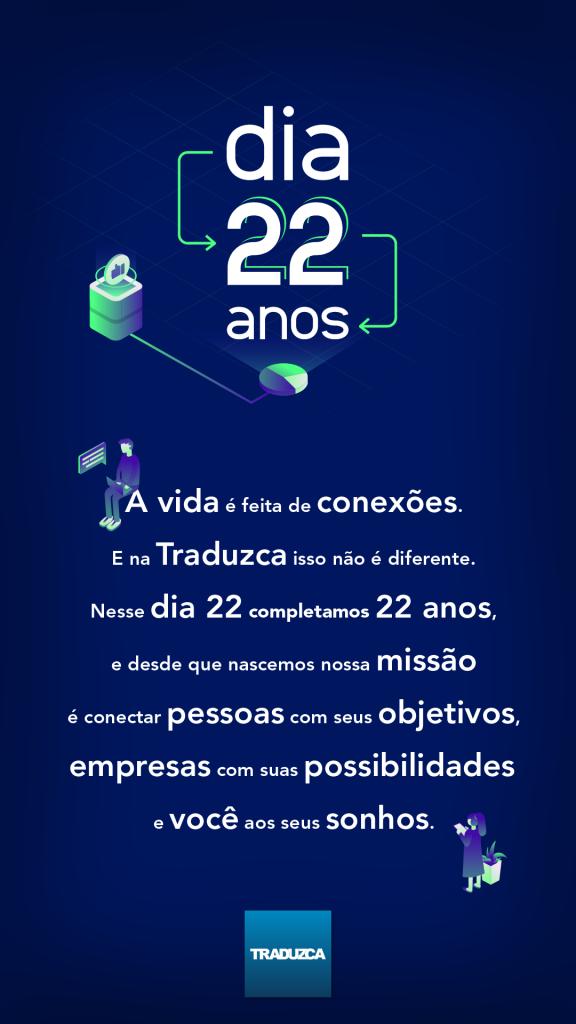 A vida é feita de conexões. E na Traduzca isso não é diferente. Nesse dia 22 completamos 22 anos, e desde que nascemos nossa missão é conectar pessoas com seus objetivos, empresas com suas possibilidades e você aos seus sonhos.