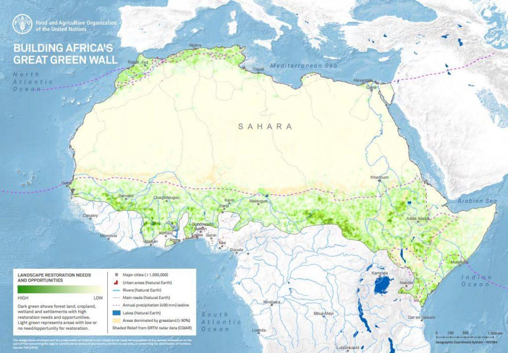 O projeto é chamado de Great Green Wall (Grande Muralha Verde, na tradução para o português) e atravessa 11 países africanos, estando localizada na borda da região do Sahel, na África.